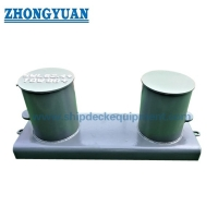 JIS F 2001 Type B Fabricated Double Bitts Mooring Bollard With Wide Base Plate. for sale