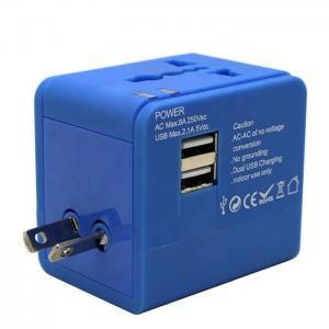 Best Blue Color Popular Gift Universal Travel Adapter With Usb Us Uk Eu Aus Plug wholesale