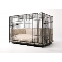 China Suitable for indoor and outdoor black metal dog cage folding stainless steel pet cage for sale