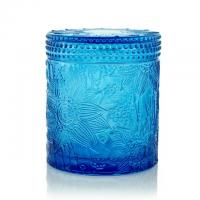 Best Carved Colored Glass Jar Tea Light Candles / Perfume Scented Candles WXC190910 wholesale