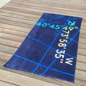 Buy cheap Multi Stripe Navy Printed Beach Towels With Longitude Latitude Monogrammed from wholesalers