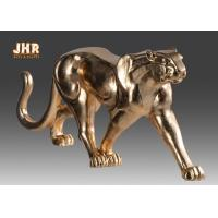 Best 130cm Leopard Sculpture Decor With Gold Leaf Finish Polyresin Animal Statue wholesale