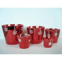 Best Christmas Red Electroplated Ceramic Flower Pot For Plants 7 X 7 X 7 Cm , Flake Design wholesale