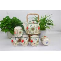 Best China Style Porcelain Tea Sets Colorful Teapots With Peony And Swallow Design wholesale