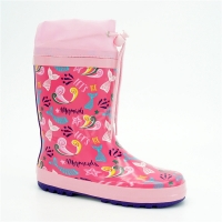 China OEM Kids Mermaid Flexible Printed Rain Boots With Strap for sale
