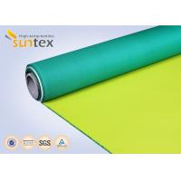 Best Fiberglass Fire Curtain PU Coated Fiberglass Fabric For Air Distribution System Yellow Green Shade For Welding wholesale