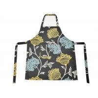 Quality Flower Pattern Cotton Kitchen Apron , Women Bib Home Kitchen Apron With Pockets wholesale