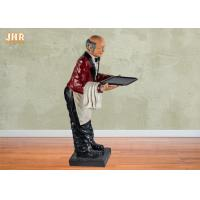 Best 145cm Height Antique Polyresin Statue Figurine Resin Butler Holding A Plastic Tray wholesale