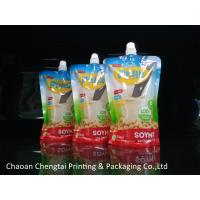Best Soymilk Packaging Food Grade Plastic Stand Up Spouted Pouches With Window wholesale