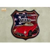 Best USA Flag Wall Decor 3D Resin Car Wall Mounted Plaques Antique MDF Pub Signs wholesale