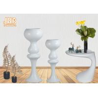 Buy cheap Indoor Flower Pots Wedding Centerpiece Table Vases Glossy White Fiberglass from wholesalers