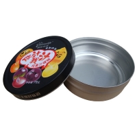 China 250ml Cookie Tin Containers 2 Colors Metal Small Round Cookie Tin for sale