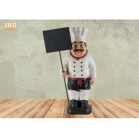 Best Decorative Fat Chef Statue Polyresin French Chef Figurine With Wooden Chalkboards wholesale