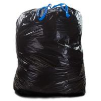 Tie Off Plastic Drawstring Garbage Bags HDPE Material Black Colour For for sale