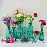 Best Flower Bottle Decorative Glass Vases Blue Transparent OEM With Custom Logo wholesale