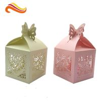 Best Texture Customized  250G Peral Paper Gift Chocolate Packaging Boxes , Wedding Favor Boxes With Ribbons wholesale