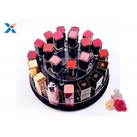 Best 2 Tiers Round Acrylic Makeup Organiser 360 Degree Rotating For Displaying Lipsticks wholesale