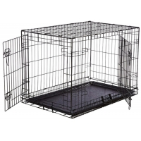 Pet cage and pet house dog kennels with tray folding metal dog cage for sale