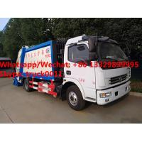 Best Factory customzied dongfeng LHD diesel 7m3 garbage compactor vehicle with rear overturning wastes hopper for sale, wholesale