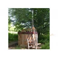 Quality Out door Wood Fired Round Sauna Hot Tub , Red Cedar wooden barrel For 3-5 Persons wholesale