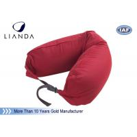 Quality Promotional Gift Red Memory Foam Pillows For Car / Train , Microbeads Material wholesale