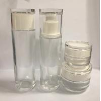 China Round Recycled Glass Cosmetic Jar and Lotion Bottles Skincare Packaging OEM Painting and Silkscreen For Makeup for sale