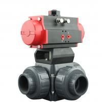 Best PVC Plastic Actuator Pneumatic Ball Valve 2 Way / 3 Way With L Type T Type wholesale