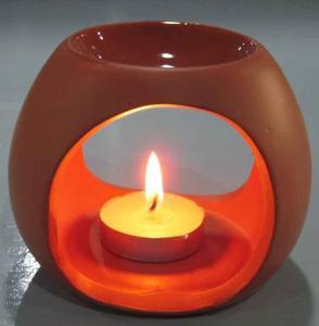 Best Tealight Room Fragrance Ceramic Oil Burner Tart Warmer Red Color For Gifts wholesale