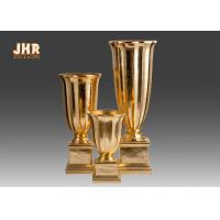 Cheap Gold Leafed Fiberglass Table Vases Homewares Decorative Items Trumpet Floor for sale