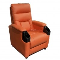 Best Leatehr Recliner Orange Movie Cinema Sofa With Cup Sacuer For Theater, Home, Living Room wholesale