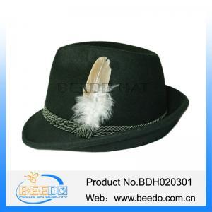 Best Green cheap hard felt oktoberfest hat feathers wholesale