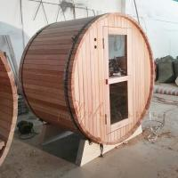 Best Red Ceder Barrel Shaped Sauna With Electrical Harvia Sauna Heater Or Burning Stove wholesale