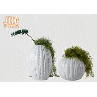 Best Round / Oval Fibreglass Plant Pots Glossy White Gold Leaf Finish Line Surface wholesale