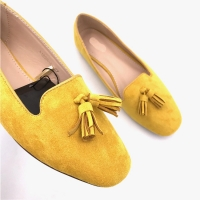 China Yellow Polished Casual Dress Loafers OEM Ladies Ballerina Shoes for sale