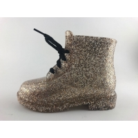Girls Pretty Glitter Lace Up Snowproof Pvc Rain Boots With Warm Fur for sale