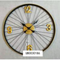 China Bicycle Wheel Metal Wall Clock With Spoked Wheel Effects Large Farmhouse Style Wall Hanging Clock on sale
