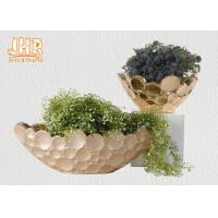 Best Frosted Gold Fiberglass Decoration Flower Serving Bowl Centerpiece Table Vase wholesale