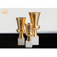 Best Trumpet Gold Leaf Fiberglass Planters With Frosted White Base Pot Planters wholesale