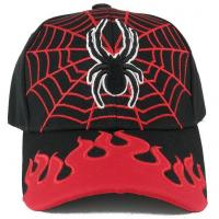 Buy cheap Hot Leather Kids Size Web and Spider Flame Brimmed Adjustable cotton Baseball from wholesalers