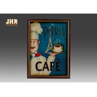 Best Blue Wall Hanging Plaques Coffee House Wall Decor Antique Wooden Wall Art Signs wholesale