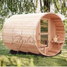 Quality 2100*2100Mm Red Cedar Barrel Sauna Room , Outdoor Steam Sauna Heater Guard wholesale