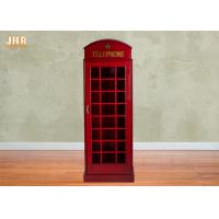 Best Telephone Booth Display Accent Cabinet MDF Wine Holder Red Color Decorative Storage Cabinets wholesale