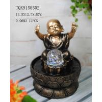 Best Little Monk Resin Water Pump Fountain With Revolving Ball 13.5 X 13.5 X 18 Cm wholesale