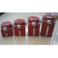 Best Red Personalized Ceramic Cookie Jar With Metal Clip And Spoon 10 X 10 X 20 Cm wholesale