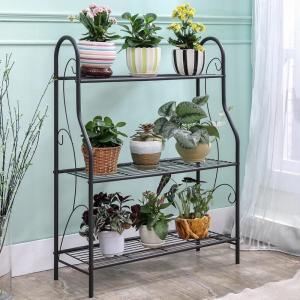 Best H257 Flower Pot Metal Display Shelf Sturdy Metal Construction Black Paint Plated wholesale