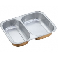 OEM SGS 0.2mm 2 Compartment Aluminium Food Tray for sale