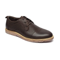 China Dark Coffee Antiodor Mens Breathable Leather Shoes Lace Up for sale