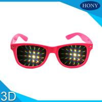 Quality Pink Plastic Frame 3D Fireworks Glasses For Kids , Double Diffraction Glasses wholesale
