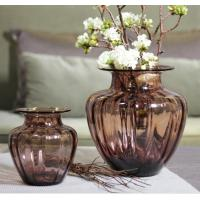 Best Mouth Blown Decorative Glass Flower Vases / Hand Wash Three Size Pink Glass Vase wholesale