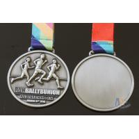 Best Half Marathon Or 10K Running Custom Sports Medals Antique Silver Plating Sublimated Ribbon wholesale